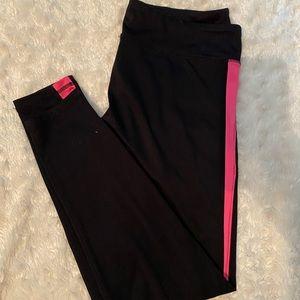 Aeropostale Black Leggings with Hot Pink Stripes